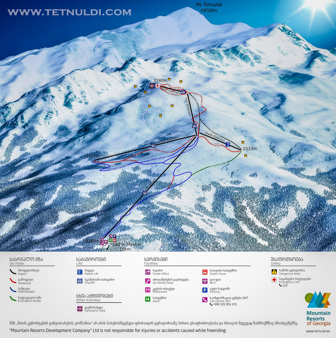 Map of the Tetnuldi Ski Resort