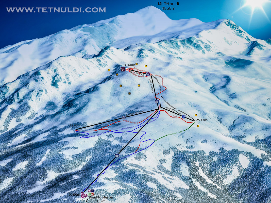 Ski Map of Tetnuldi resort, Svaneti. Georgia